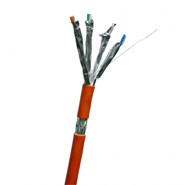 Sieťový kábel Datacom, drôt, CAT7, LSOH, S/FTP, oranžový plášť