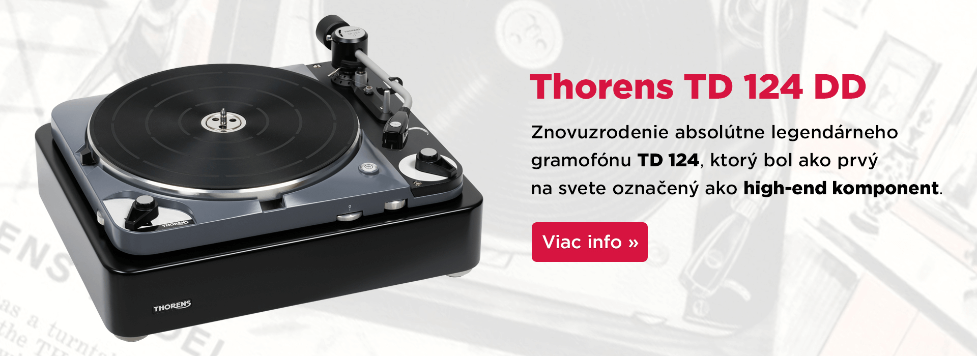Gramofón Thorens TD 124 DD s priamym pohonom